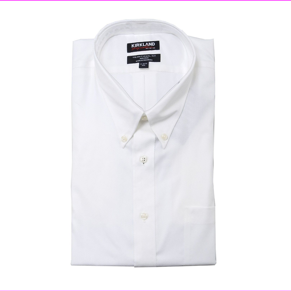 Kirkland Signature Mens Traditional Fit Dress Shirt White 16.5-36/37