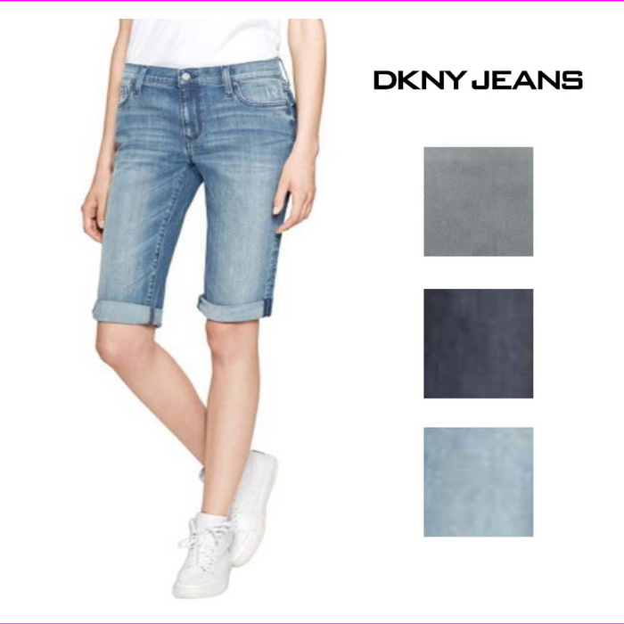 DKNY Jeans Womens Mid Rise Stretch Bermuda Short