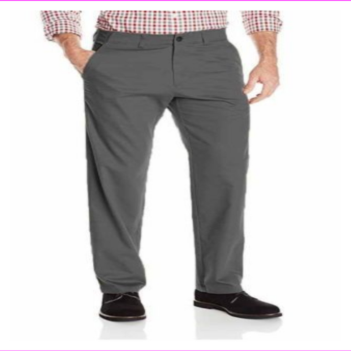 Haggar Men's In Motion Performance Straight Fit Stretch Pants 36W-34L Heather Gray