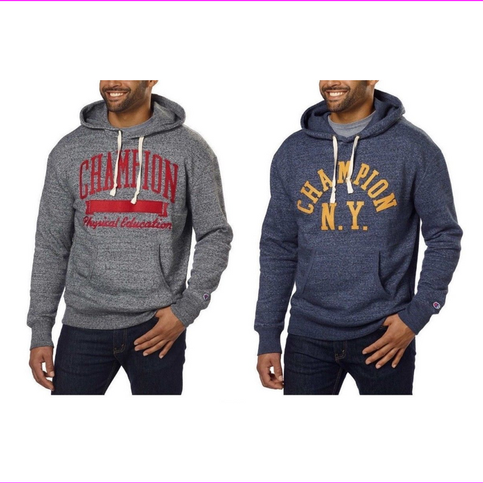 Champion Men Vintage Hooded Applique Logo Fleece Hoodie Sweatshirt