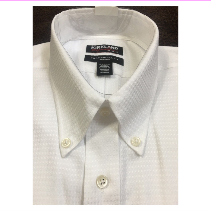 Kirkland Signature Men's Traditional Fit Long Sleeve Dress Shirt