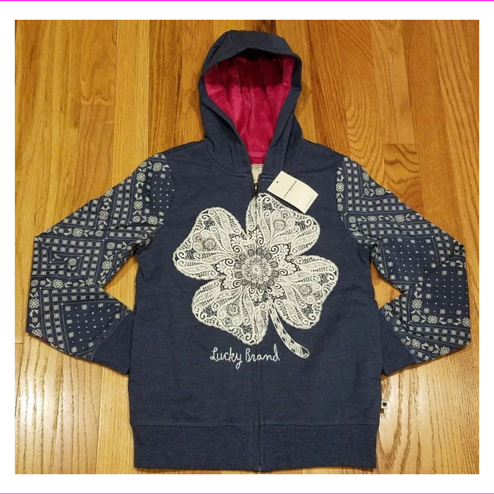 Lucky Brand Girl's Full Zip Plush Lined Hoodie Sweatshirts
