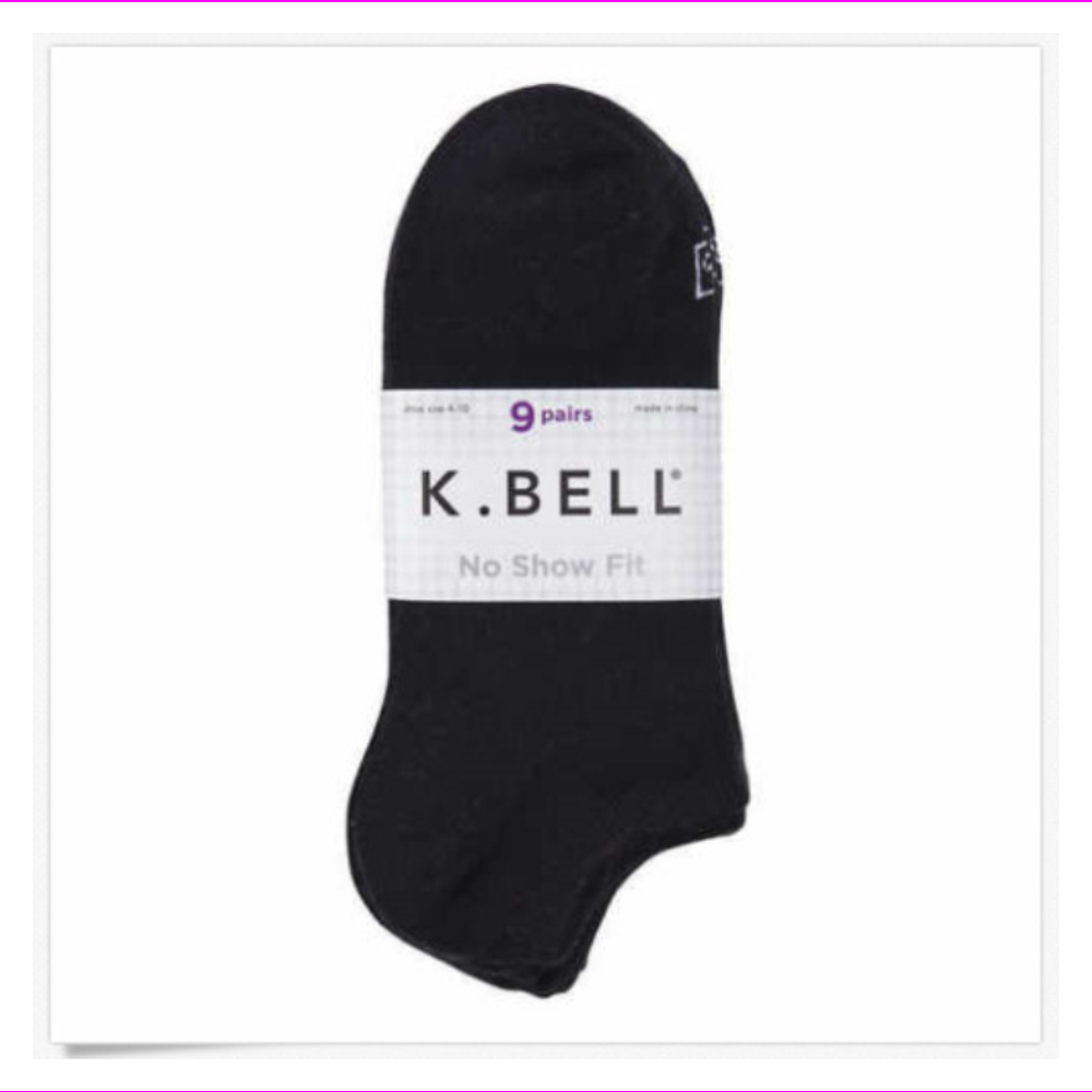 K.Bell Ladies' Great No Show Fit 9Pairs Socks