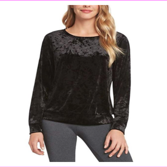 Matty M Women's Crushed Velour Top Shirt Blouse Long Sleeve
