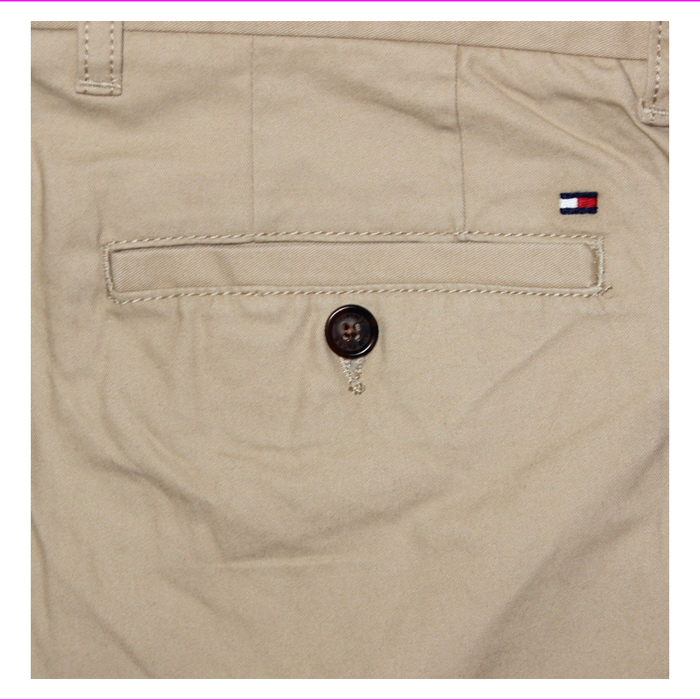 Tommy Hilfiger Chino Pants Mens Tailored Fit Flat Front Flag Logo 38W-34L Incense(Khaki)