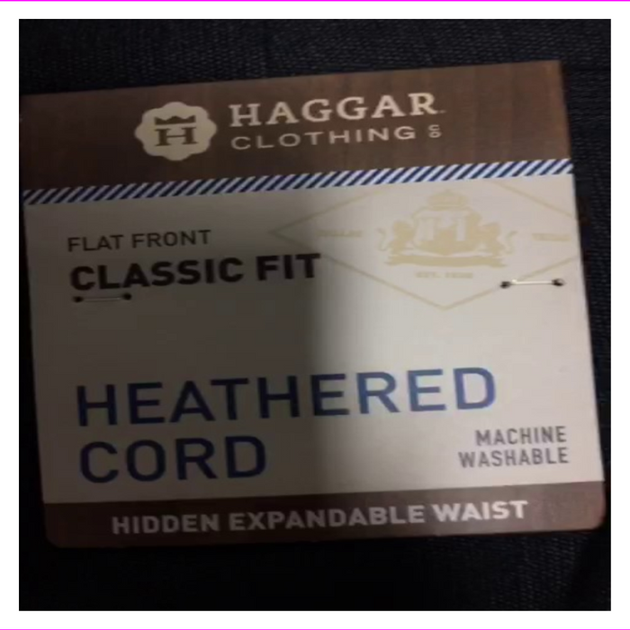 Haggar Heathered Cord Dress Flat Front