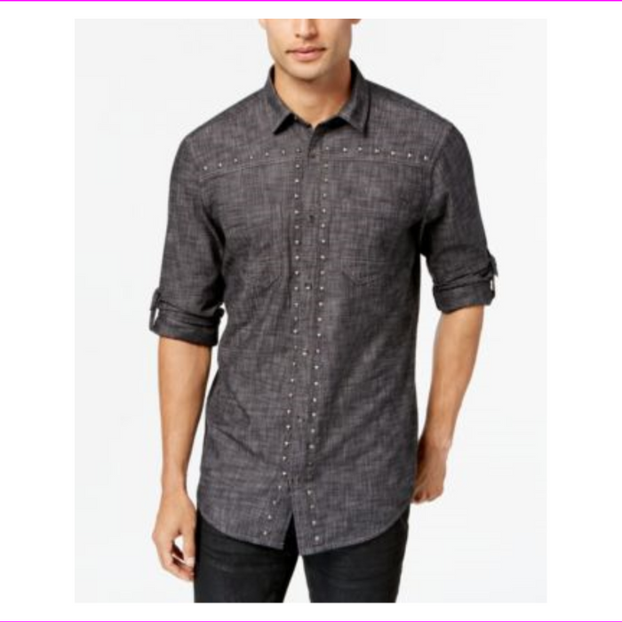 I-N-C Mens Studded Chambray Button Up Shirt