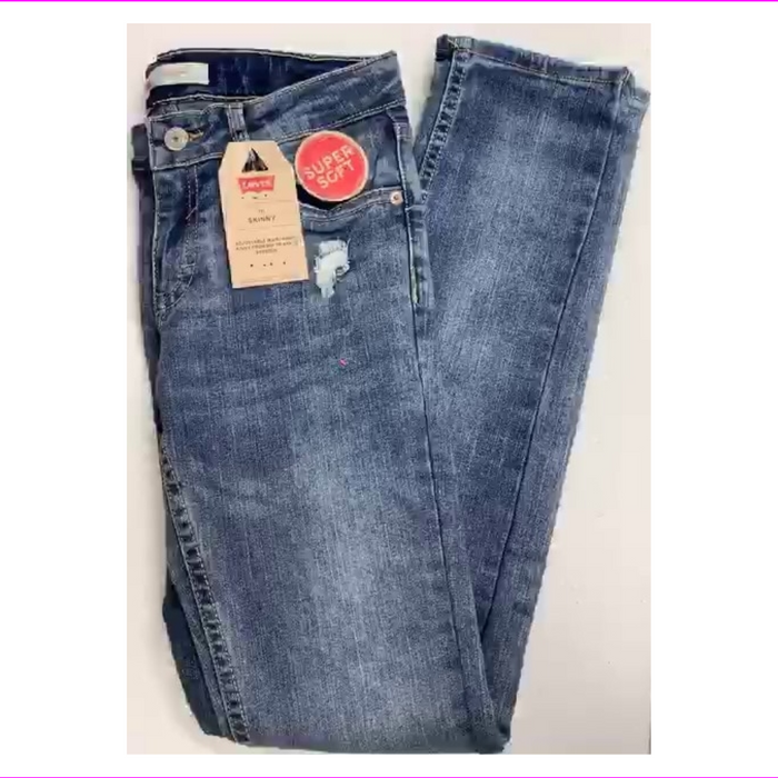 Levi's 711 Skinny Girls' 5 Pocket Button Cotton Blend  Jean Light Wash 8
