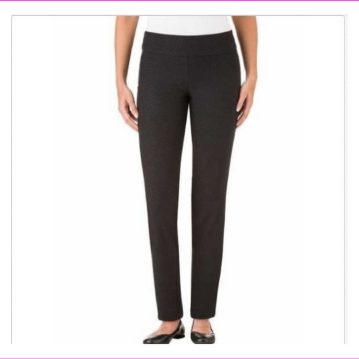 Hilary Radley Ladies' Pull-on Pant Black Texture 10