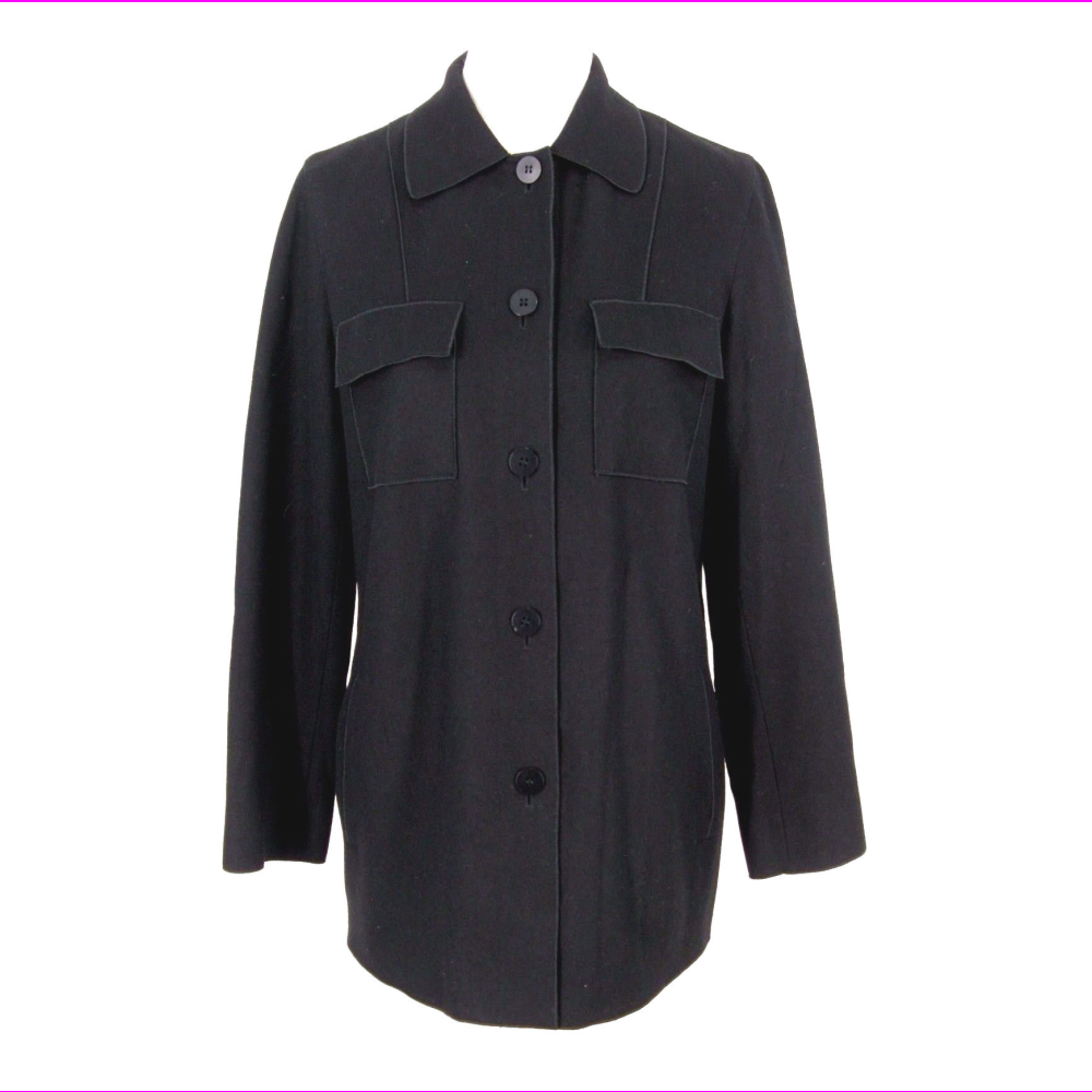 Kenneth Cole Jacket  Womens Black Wool Button Lightweight Car Coat