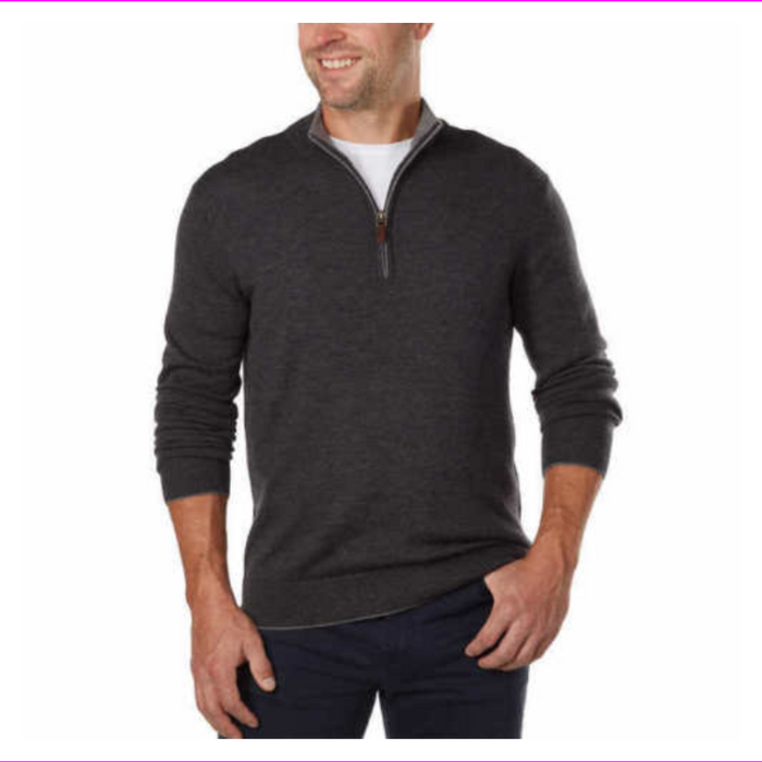 Kirkland Signature Men's Extra Fine Merino Wool ¼ Zip Sweater