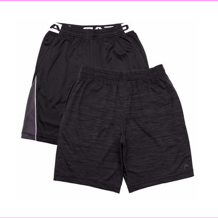 HEAD Youth Boys 2-Pack Athletic Active Shorts Black/Black Heather M-10/12