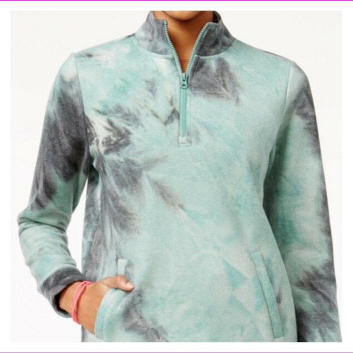 Jessica Simpson Juniors' The Warm Up Tie-Dyed Half-Zip LongSleeve Jacket