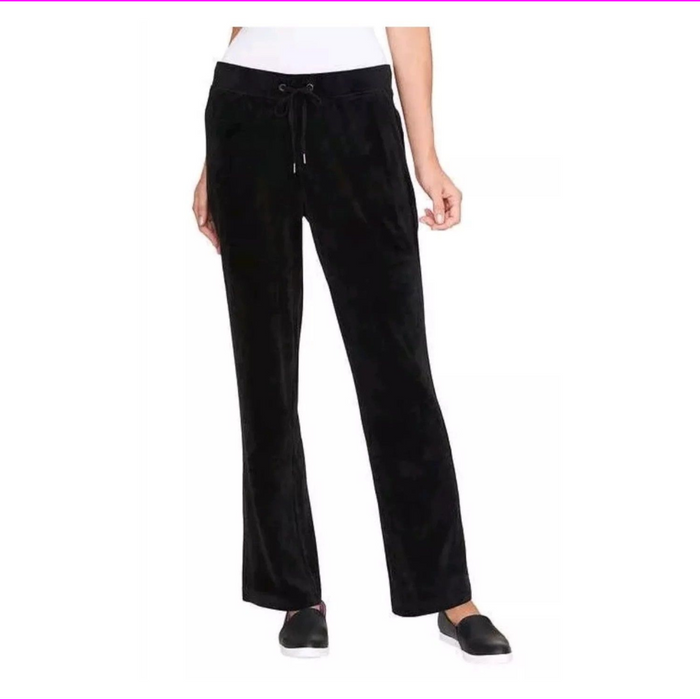 Women's Black GLORIA VANDERBILT Jemma Velour Pants