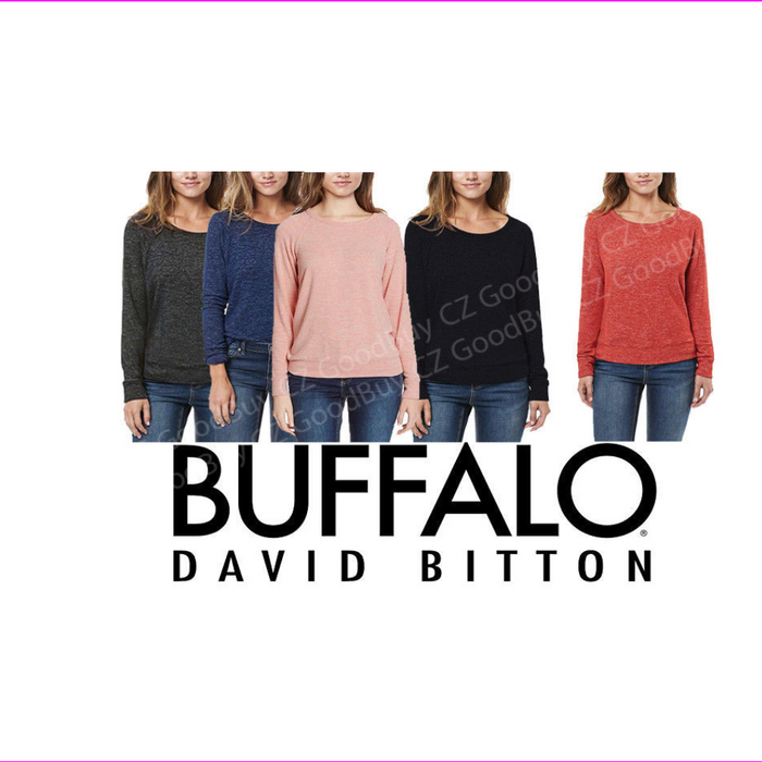 Buffalo David Bitton Women's Soft Cozy Crew Neck Long Sleeve  Blue S