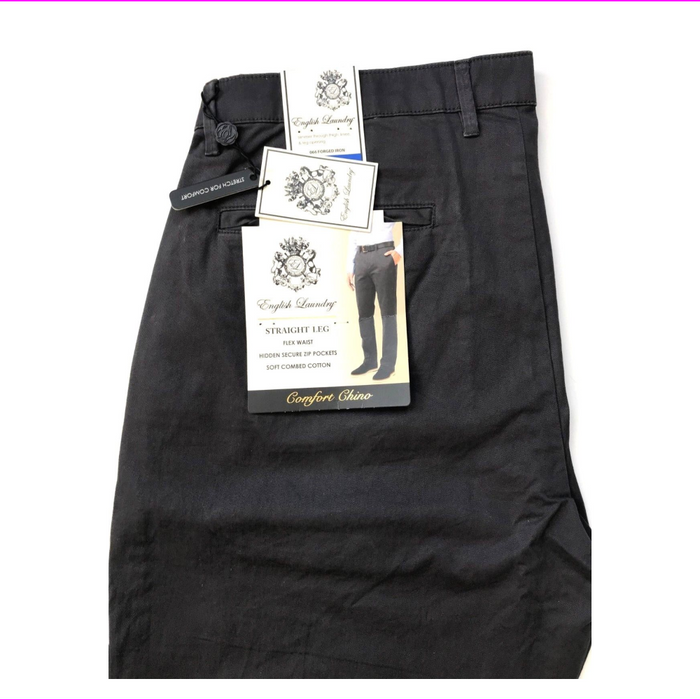 English Laundry Men Straight Leg Flex Waist Comf Chinos Pant Forged Iron 34W-30L