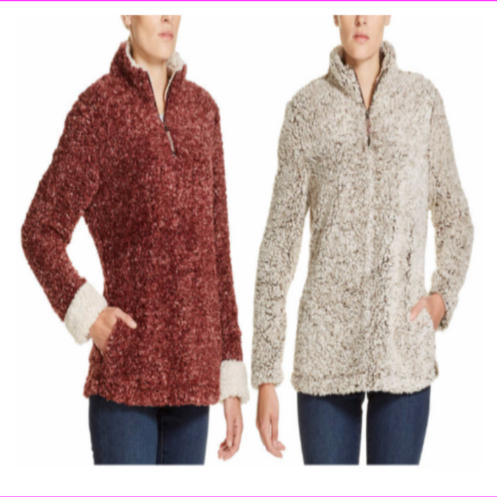 WEATHERPROOF VINTAGE LADIES' FROST TIPPED SHERPA PULLOVER
