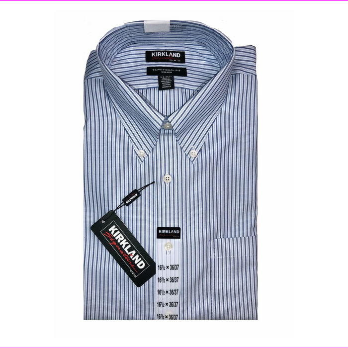 Kirkland Signature Men's Long Sleeve Dress Shirt  Blue/White 16.5 36/37