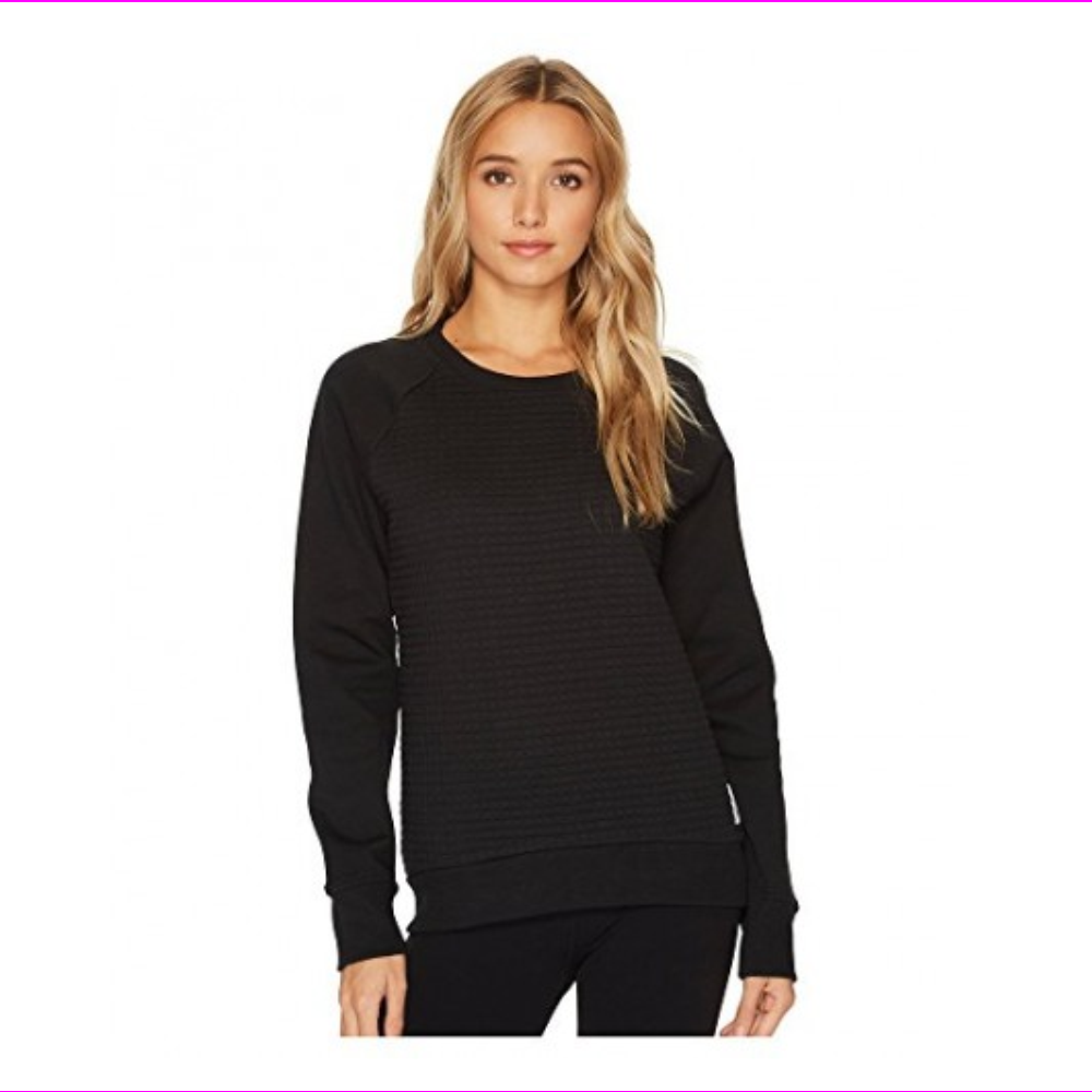 Reebok Women's TE Quilted Crew Sweater  Black L
