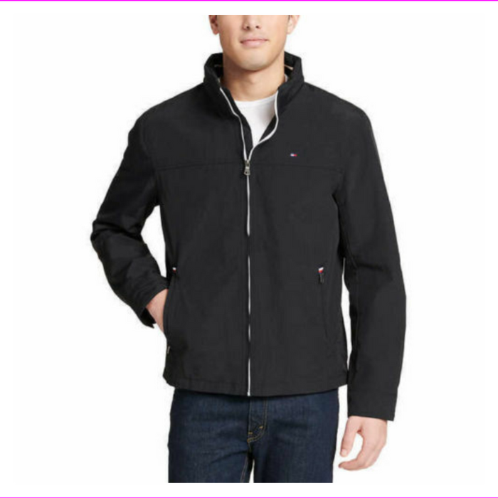 Tommy Hilfiger Mens Classic Hooded Full-zip Jacket Flag