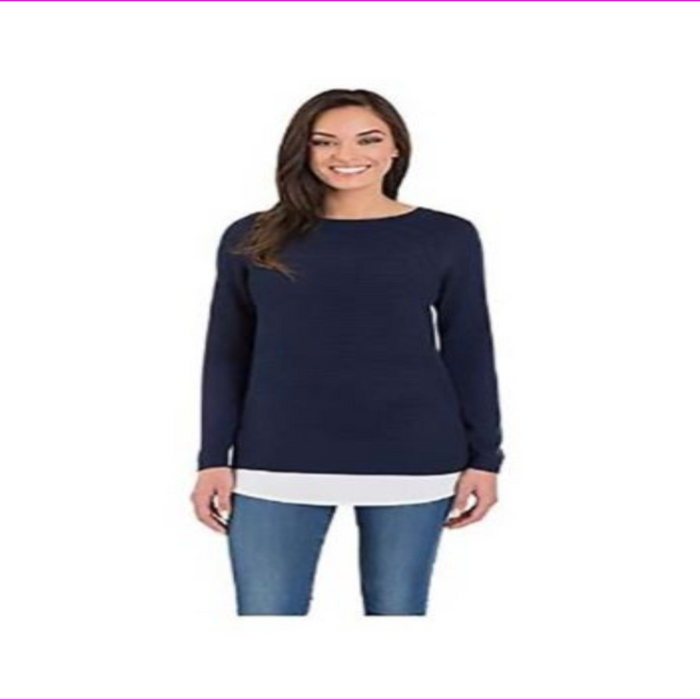 Hilary Radley Women's Long Sleeve Two-Fer Sweater
