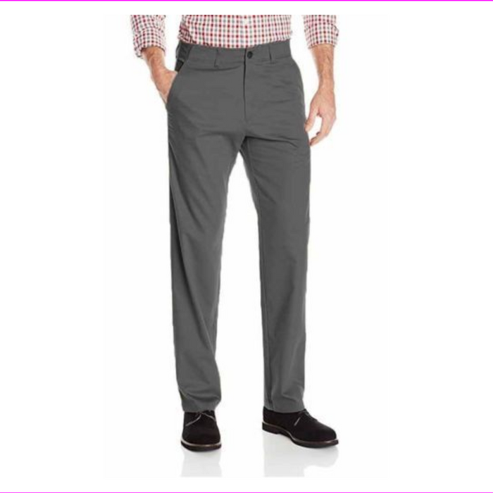 Haggar Men's In Motion Performance Straight Fit Stretch Pants 38W-30L Heather Gray