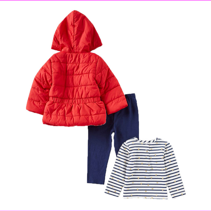 Little Me Girls 3-Piece Jacket, Top, Pant Outfit Set Red Multi 12M