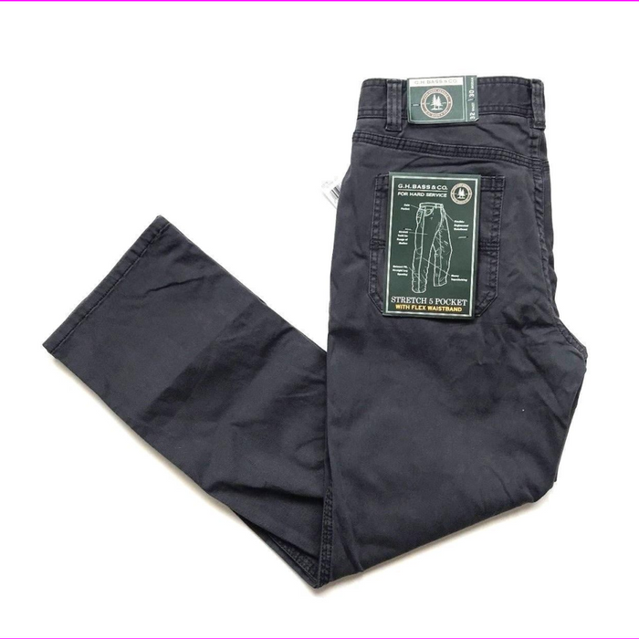 G.H. BASS & CO Stretch 5 Pocket Pant Hiking Flex Waistband ASPHALT 32W x 32L