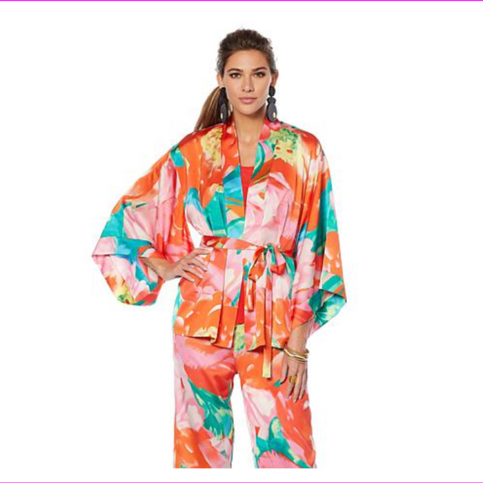 N Natori Printed Silky Satin Tie Belted Topper Paradise Multi