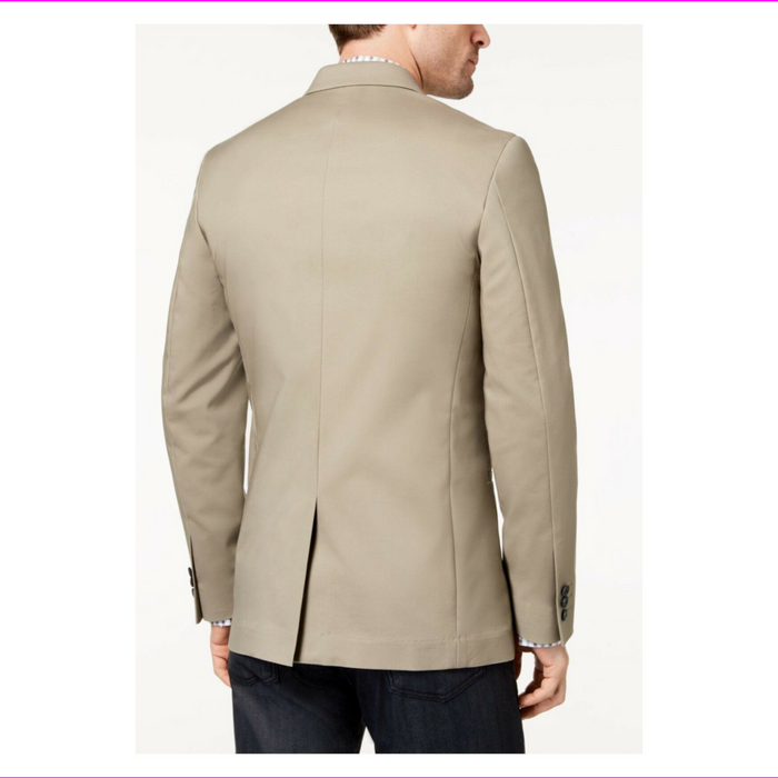 Mens Alfani Two Button Slim Fit Luxe Stretch Sand Coat Blazer