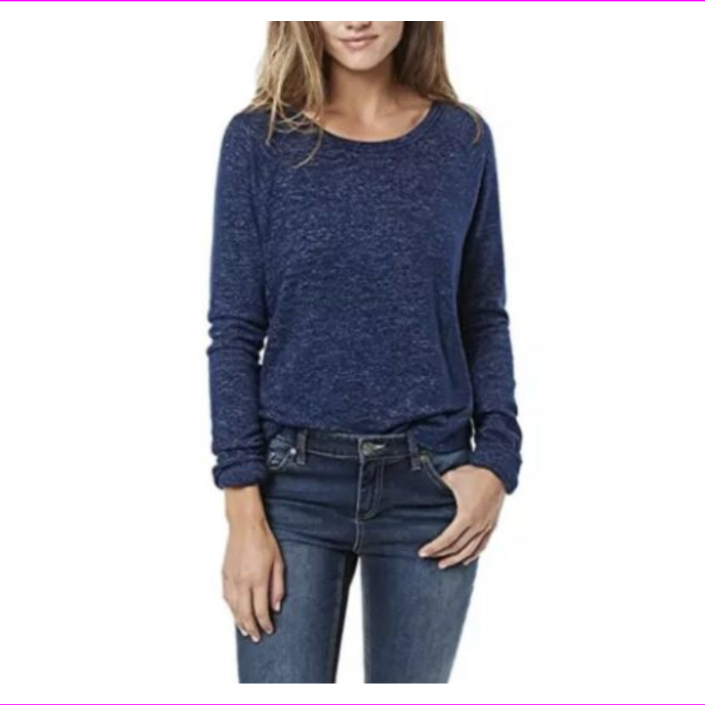 Buffalo David Bitton Women's Soft Cozy Crew Neck Long Sleeve  Blue XL