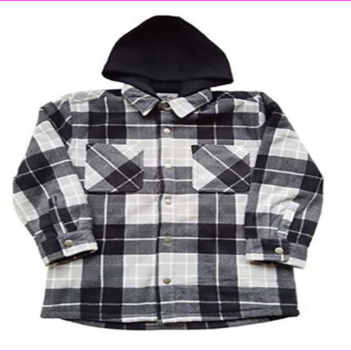 Freedom Foundry Boy's SUPER SOFT Plaid Sherpa 2 Chest Pockets Lined Jacket