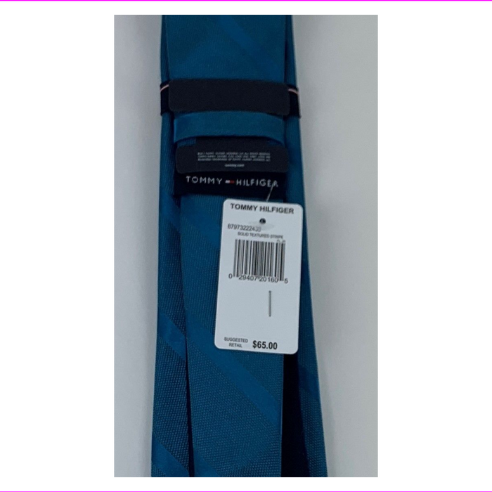 Tommy Hilfiger Teal Men's  Solid Textured Stripe Tie Blues