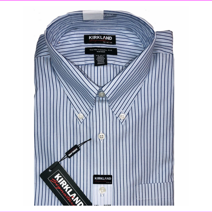 Kirkland Signature Men's Long Sleeve Dress Shirt  Blue/White 16.5 34/35