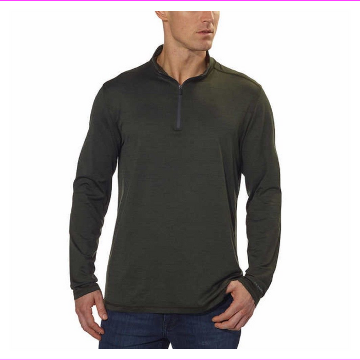 G.H. BASS & CO. MEN'S 1/4 ZIP LONG SLEEVE PULLOVER Rosin Heather M