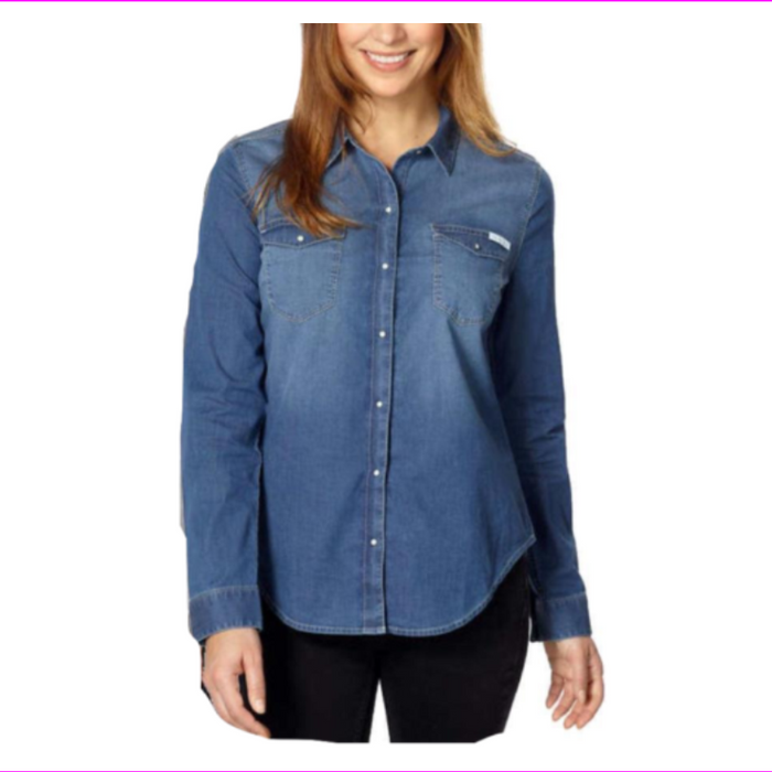 Calvin Klein Women Ladies' Point collar Denim Shirt
