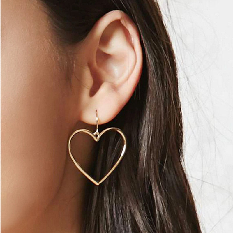 New fashion jewelry accessories Bohemia gold color heart design dangle earring best gift for lover's girl wholesale E367
