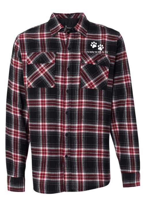 Charcoal and Red Unisex Flannel