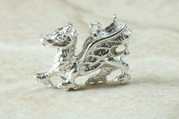 Welsh Dragon Charm in Sterling Silver