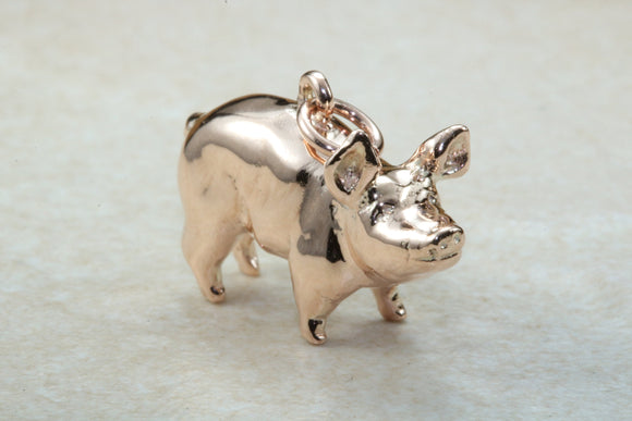Farm House Pig in 9 carat Rose Gold. Solid Rose gold and not hollow.