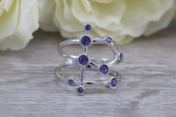 Natural Tanzanite Chakra ring, solid 925 grade sterling silver with 9 real Tanzanite gemstones