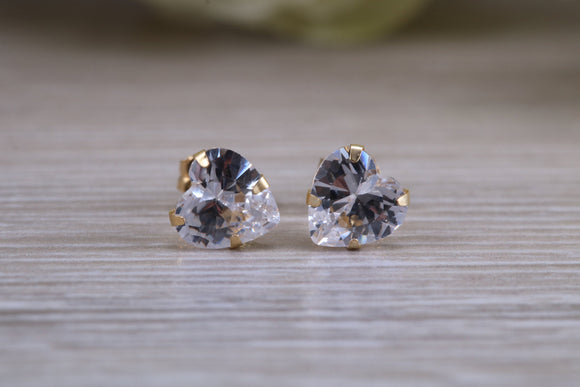 Heart cut real Diamond look stud earrings, solid 9ct yellow gold and set with diamond white cubic zirconia