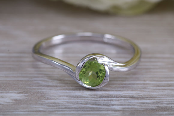 August Peridot birthstone ring, natural Peridot set in 925 grade sterling silver, absolutely perfect gift and suitable for all ages