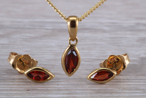 Natural Garnet matching stud earrings and pendant made from solid 9ct yellow gold, 18 inch chain included, Just the ideal gift solution