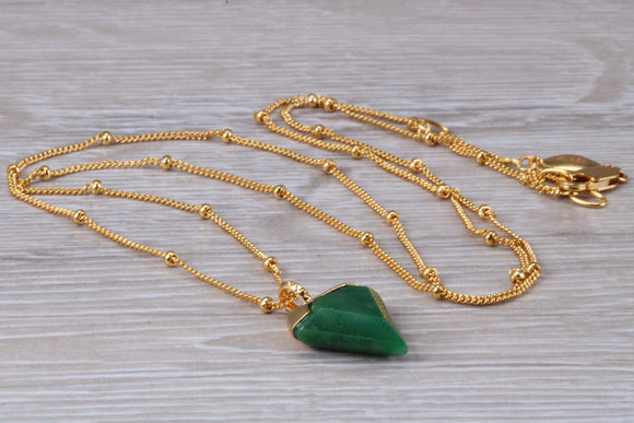 Natural Emerald necklace, dark green shade Emerald set in sterling silver with 18ct yellow gold hard plating, 22 inch long chain