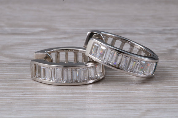 Large Diamond look Silver Huggie hoop earrings, set with baguette cut C Z, Perfect for ladies or gents