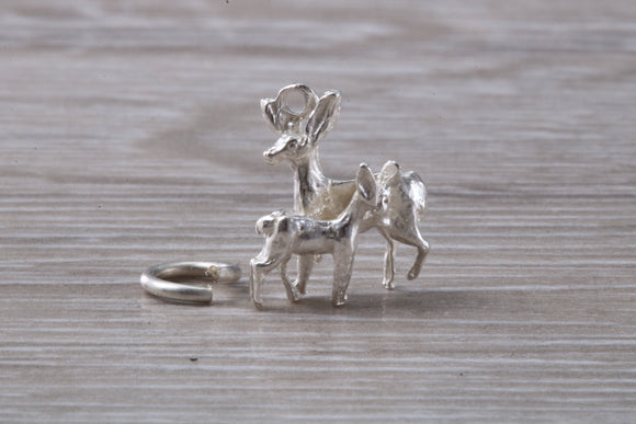 Deer and Fawn Charm in Sterling Silver.