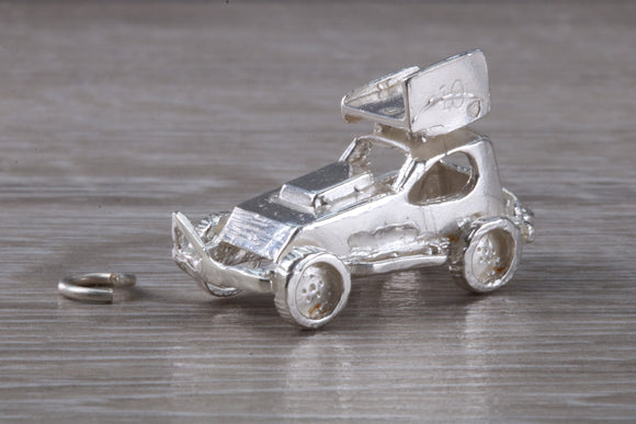 Stock Car Traditional Silver Charm.Stock Car Racing Charm.