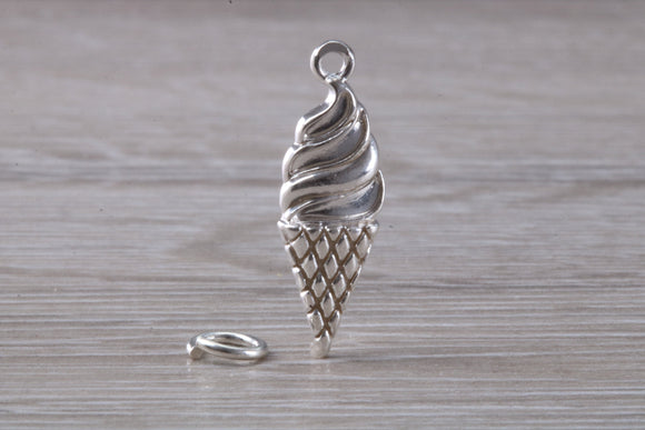 Ice Cream Cone Charm in Sterling Silver