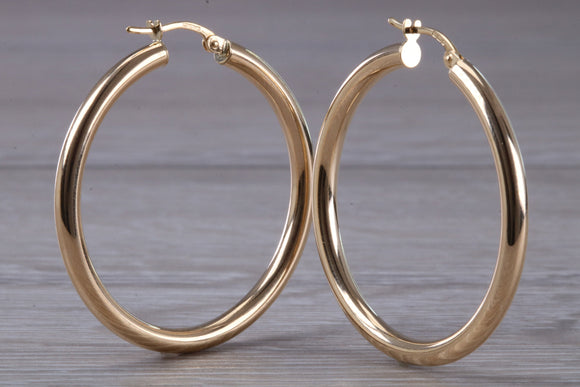 9ct gold Creole hoop Earrings, Hallmarked 9ct gold 45 mm round with rounded profile huggie hoops, very light weight and comfortable to wear